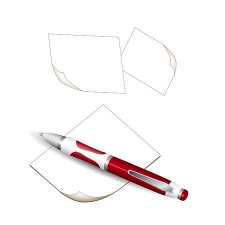 ball pens stationery: Bolígrafo y papel de notas aisladas sobre fondo blanco
