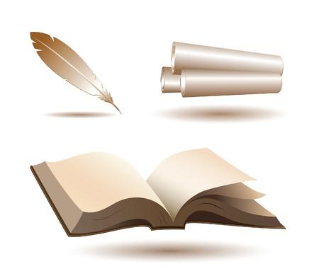 poezie: Open boek, pen en rollen pictogrammen op wit Stock Illustratie