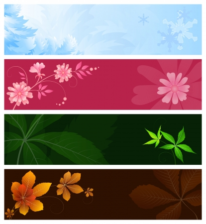 frosted: Set of four season banners, element for design Illustration
