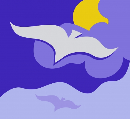 Stylized background with flying seagull Vector