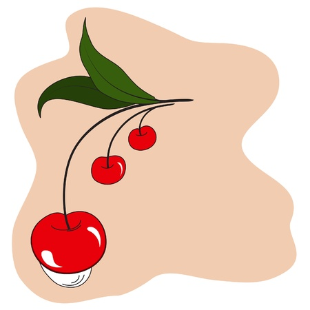 Stylized red cherries Vector