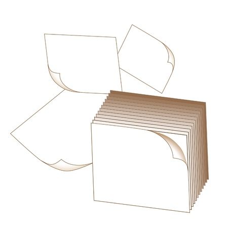 block note: Note block and flying sheets isolated on white