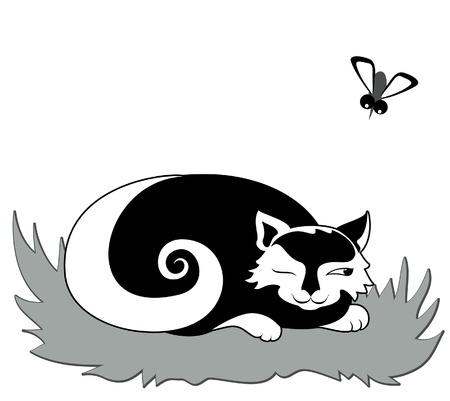 Cat preparing to catch gadfly Stock Vector - 15210033
