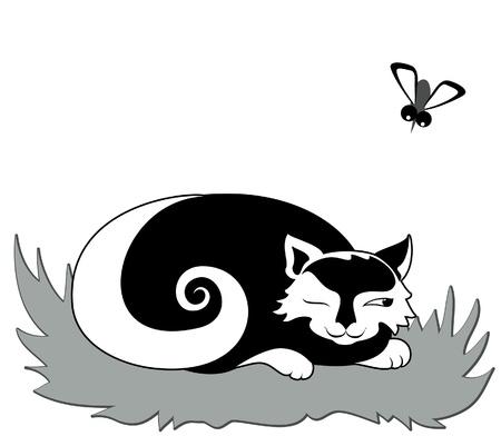 Cat preparing to catch gadfly Stock Vector - 15210033