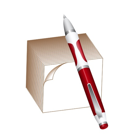 block note: Ballpoint pen and note block isolated on white Illustration