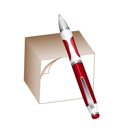 ball pens stationery: Bloque de Bolígrafo y nota aislados en blanco