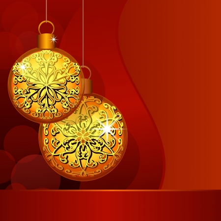 Christmas background with golden baubles Stock Vector - 15048430
