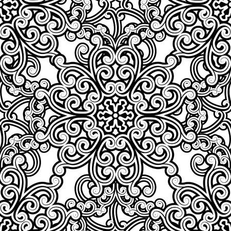 arabesque wallpaper: Vintage monochrome seamless pattern Illustration