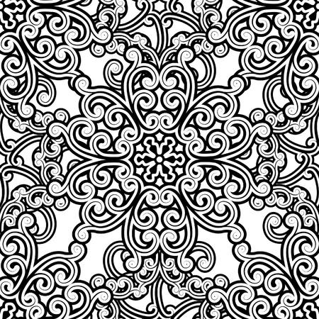 monochroom: Vintage zwart-wit naadloze patroon Stock Illustratie