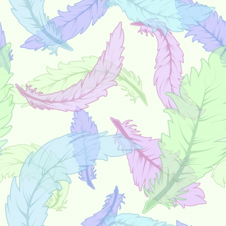 pastel colored: Scattered colored feathers, seamless pattern