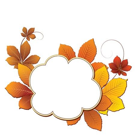 castaÑas: Fondo del otoño con las hojas amarillas en blanco