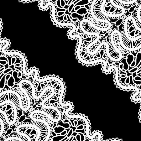 Lace corner on black, monochrome retro background Vector