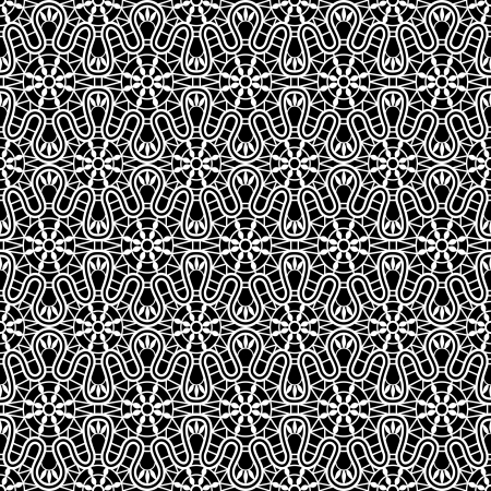 crochet: Lace pattern, seamless texture on black background Illustration
