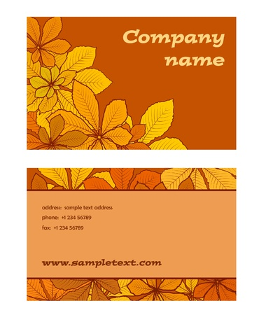business card: Business card template set with autumn leaves pattern