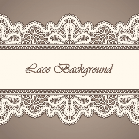 Old lace, horizontal seamless vintage background Vector