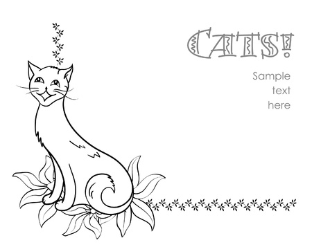 black and white line drawing: Corner element with cheerful cat on white Illustration
