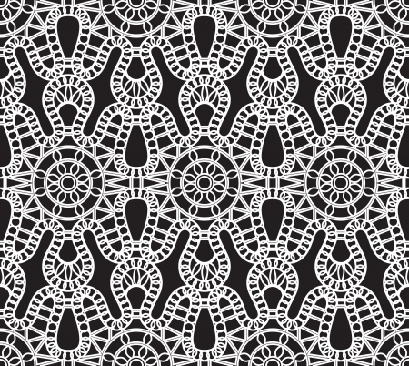 crochet: Lace pattern, white seamless texture on black Illustration