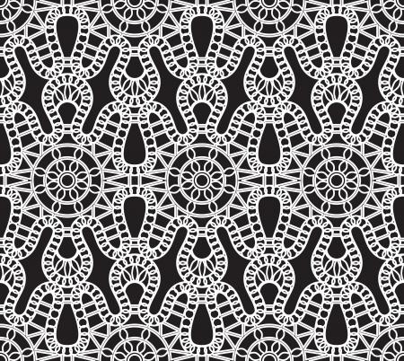 tulle: Lace pattern, white seamless texture on black Illustration