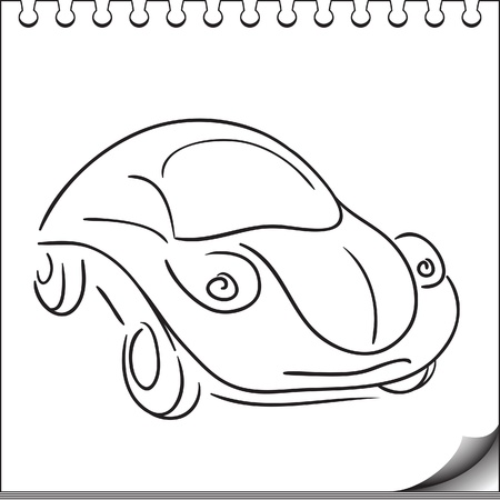 Car character sketch on white notebook page Vector
