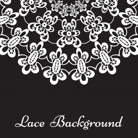 White lace pattern on black background  Vector