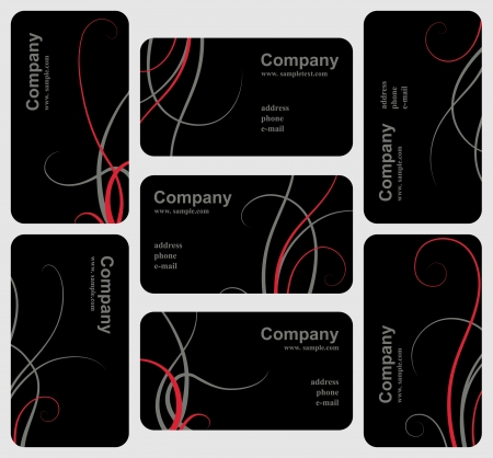 visiting card design: Set of elegant black business cards, template for design