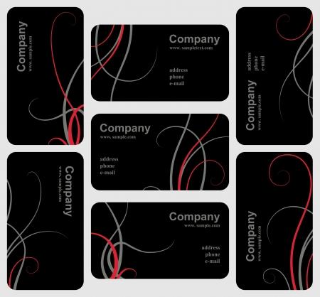 visitekaartje: Set van elegante zwarte visitekaartjes, sjabloon voor ontwerp