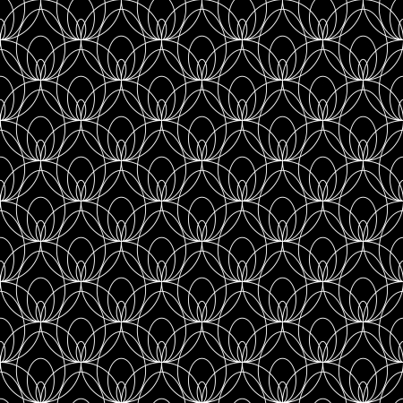 White lacy seamless pattern on black Vector