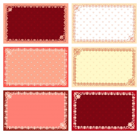 lacy: Set of elegant cards decorated with lacy border, isolated on white
