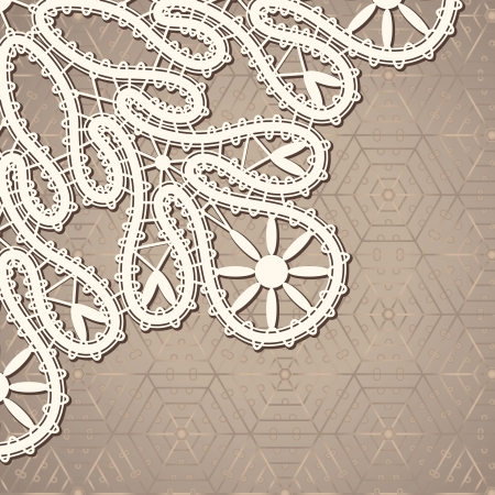 Realistic old lace, vintage background  Vector