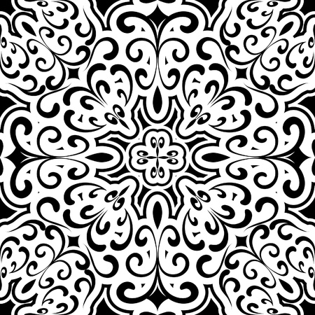 rosette: Abstract black and white seamless pattern