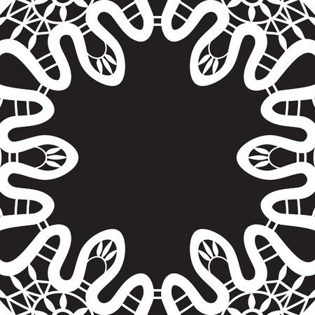 White lace vignette frame isolated on black Stock Vector - 16067953