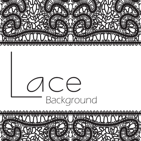 Black lace texture isolated on white background  Vector