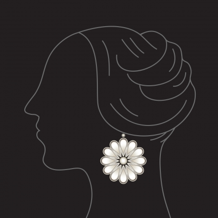 bijou: Woman model profile with floral earring pendant on black Illustration