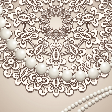 Fragment of old lace doily and beads, vintage background Vector