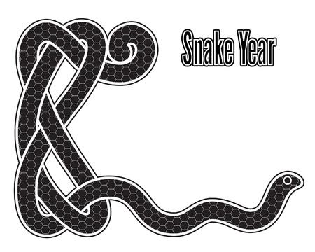 snake year: Serpiente a�os, negro y blanco tarjeta de a�o nuevo con s�mbolo del zodiaco chino 2013
