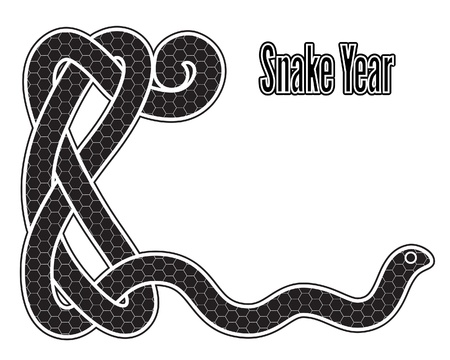Snake year, black and white New Year card with Chinese zodiac symbol 2013 Vector