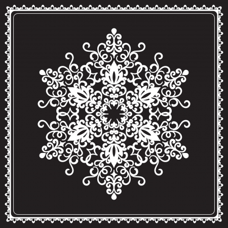 White ornamental snowflake in square frame isolated on black Vector
