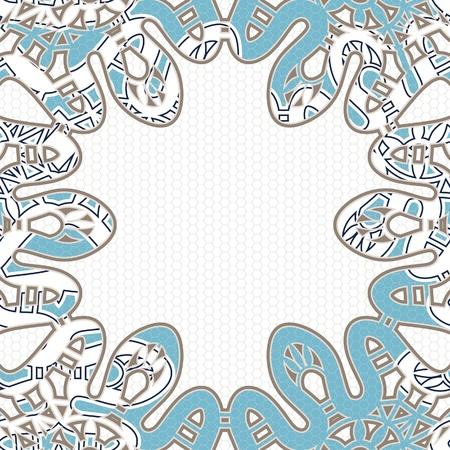 snake skin: Ornamental snake skin frame on white