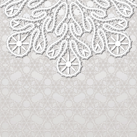 Realistic white lace on patterned background Vector