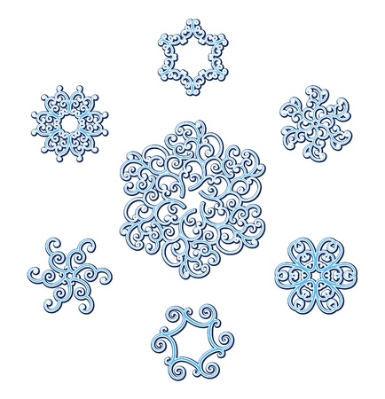 curlicue: Set of snowflakes isolated on white Illustration