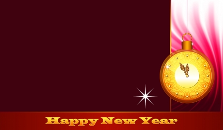 Gold clock, New Year Eve greeting card Vector