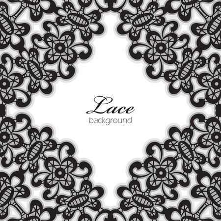Black lace frame isolated on white Vector
