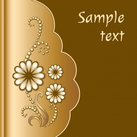 Gold scrapbook cover with jewelry flowers Vector