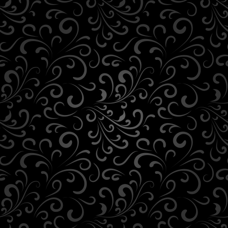 Abstract black floral seamless pattern Vector