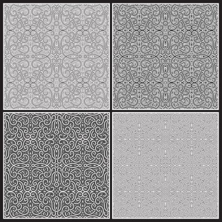 Seamless monochrome pattern set Vector