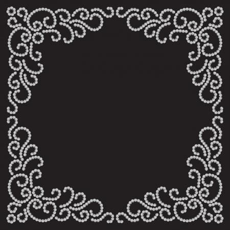 Gioielli cornice su fondo nero, elemento decorativo per la progettazione
