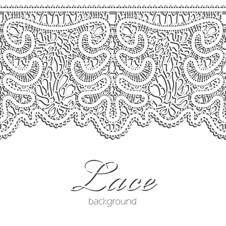 White lace,  realistic horizontal seamless border Vector