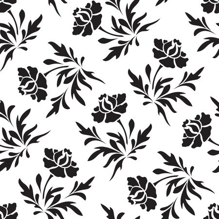 carnation: Black and white seamless  floral pattern