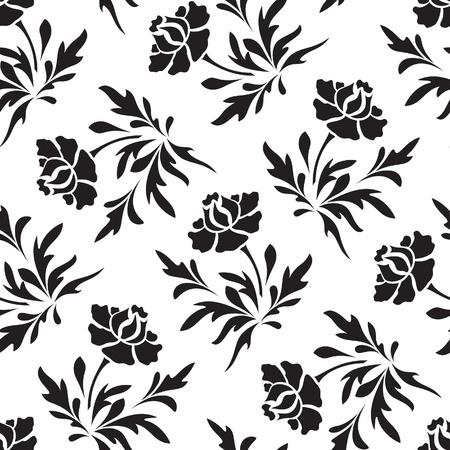 Negro y blanco patrón floral sin fisuras