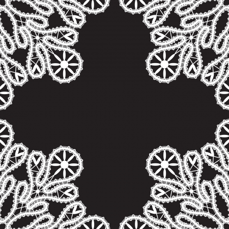 White lace on black Stock Vector - 16688666